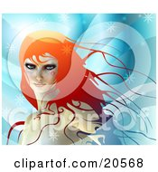 Clipart Illustration Of A Gorgeous Red Haired Woman Standing In A Cool Winter Breeze Surrounded By Snowflakes