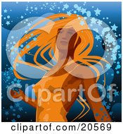 Clipart Illustration Of A Beautiful Sexy Lady With Orange Hair Wearing A Tight Dress And Dancing In Confetti Over Blue by Tonis Pan