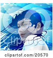 Clipart Illustration Of A Pretty Blue Eyed Woman With Blue Hair Standing In A Cool Winter Breeze Surrounded By Snowflakes