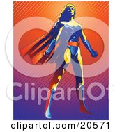 Clipart Illustration Of A Strong Super Hero Woman Wearing A Cape And Standing Proud by Tonis Pan