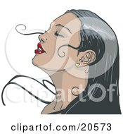 Clipart Illustration Of A Black Haired Woman Wearing Red Lipstick Tilting Her Head Back And Closing Her Eyes While Enjoying A Soft Breeze by Tonis Pan