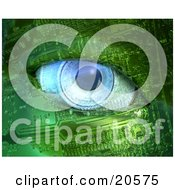 Poster, Art Print Of Blue Camera Lens Eyeball In A Robot Face Made Of Green Circuits