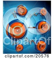 Clipart Illustration Of Orange And Blue Security Webcams With Orange Cables Over A Blue Background