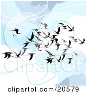 Clipart Illustration Of A Flock Of Flying Seagulls In The Clouds Gliding On The Breeze