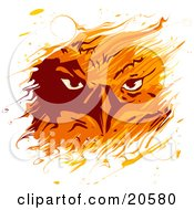 Clipart Illustration Of A Feiry Eagles Gaze Through Flames