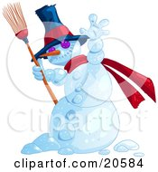Jolly Wintry Snowman Wearing A Hat And Red Scarf And Holding A Broom