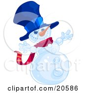 Happy Winter Snowman Wearing A Blue Hat And Red Scarf And Holding His Arms Out