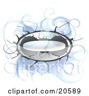 Clipart Illustration Of A Silver Design Element Button With Straying Arms Over A Swirly Blue Background by Tonis Pan