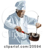 Male Chef With A Curly Mustache Wearing A White Uniform And Hat Stirring Food In A Pot While Cooking In A Restaurant Kitchen
