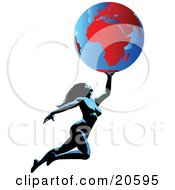 Clipart Illustration Of A Nude Woman Flying Through The Air Holding The Globe Above Her by Tonis Pan