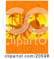 Clipart Illustration Of An Orange Background Of Drawings And Turbo Engines