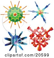 Clipart Illustration Of Four Alien Elements Molecules And Atoms Over White