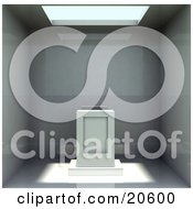 Clipart Illustration Of A Skylight Shining Sunshine Over An Alter Or Pedestal Inside An Empty Room