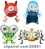 Four Scary Monsters Resembling A Devil Ghost Frog And Spider Over A White Background