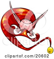 Clipart Illustration Of A Happy Little Elf In A Long Red Hat Jumping For Joy And Smiling by Tonis Pan