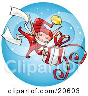 Clipart Illustration Of A Festive Christmas Elf Carrying A Big Present Gift Wrapped In White Paper And Red Ribbon