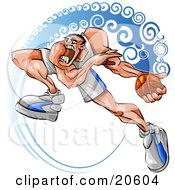 Clipart Illustration Of An Aggressive Basketball Player Running With The Ball During A Game by Tonis Pan