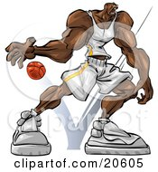 Muscular African American Basketball Player Bouncing The Ball During A Game