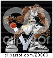 Clipart Illustration Of A Strong Black Basketball Player Bouncing The Ball On The Court