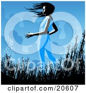 Clipart Illustration Of A Slender White Witch Standing In Tall Grasses Outside At Night Stirring Up Magical Dust
