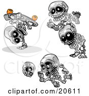 Clipart Illustration Of Three Skeletons Skateboarding Doing Leap Frog And Kicking A Skull