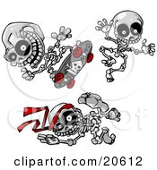 Clipart Illustration Of Three Skeletons Skateboarding Jumping And Doing Karate