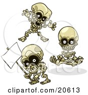 Clipart Illustration Of Three Skeletons Teasing Meditating And Holding A Blank Sign