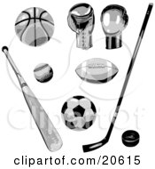 Clipart Illustration Of Basketball Boxing Baseball American Football Hockey And Soccer Equipment by Tonis Pan