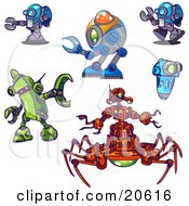 Clipart Illustration Of Blue Green And Orange Robots In Different Poses Over A White Background by Tonis Pan