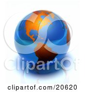 Clipart Illustration Of A Blue Glass Marble Of Earth With Orange Continents Over A Reflective Surface