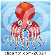 Poster, Art Print Of Happy And Energetic Red Octopus Smiling And Wiggling Its Tentacles In Ocean Bubbles Underwater