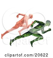 Clipart Illustration Of A Nude Human Man Racing A Green Robotic Man Man Vs Machine