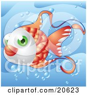 Poster, Art Print Of Cute Green Eyed Orange Fish Swimming Through Bubbles Underwater In The Sea