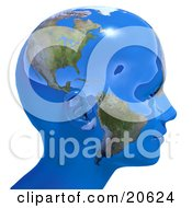 Clipart Illustration Of A Persons Head In Profile Covered In Blue Seas And Continents Of Planet Earth