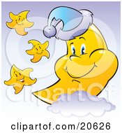 Clipart Illustration Of Happy Yellow Stars Smiling And Dancing Around A Sleepy Crescent Moon That Is Resting On A Cloud And Wearing A Sleeping Cap