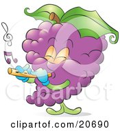 Clipart Illustration Of A Musical Bunch Of Purple Grapes Playing A Flute by Alexia Lougiaki #COLLC20690-0043