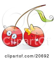 Clipart Illustration Of Two Happy Red Cherries Wearing Glasses And A Bow And Smiling
