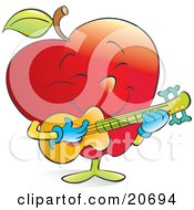 Happy Musical Red Apple Strumming A Guitar