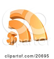 Clipart Illustration Of An Orange Rss Symbol With A Dollar Sign Symbolizing Online Banking And Finances