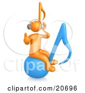 Clipart Illustration Of An Orange Person Wearing Headphones And Listening To Tunes While Bouncing On A Blue Music Note by 3poD