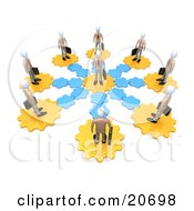 Manager Standing In The Center Of A Circle Of Employees On Gears All Connecting To The Middle Man