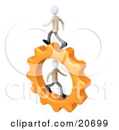 Poster, Art Print Of Two Business Men Running On A Cog Gear One In The Center One On Top Symbolizing Colleagues Or Opposition