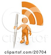Orange Person Holding A Pen And Standing By An RSS Symbol On A Blog