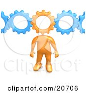 Clipart Illustration Of An Orange Person With A Cog Head Connected To Blue Gears Symbolizing Inventing And Creativity