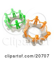 Two Gears Working Togther With Orange And Green People Holding Hands And Standing On Top Of Them by 3poD