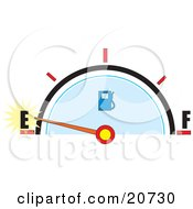 Clipart Illustration Of A Vehicles Gas Gauge With The Needle Near Empty by Maria Bell