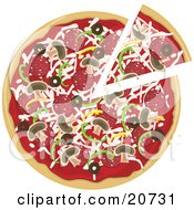 Clipart Illustration Of A Supreme Pizza Pie With Pepperoni Bell Peppers Olives And Mushrooms And One Slice Seperated From The Pie
