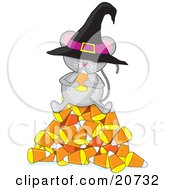 Clipart Illustration Of A Cute Gray Mouse Wearing A Witchs Hat Sitting On Top Of A Pile Of Candy Corn And Eating Halloween Candy by Maria Bell
