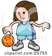 Clipart Illustration Of A Sporty Girl In A Blue Uniform Dribbling A Basketball During Practice by AtStockIllustration