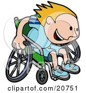 Poster, Art Print Of Boy In A Wheelchair Racing Downhill During A Marathon
